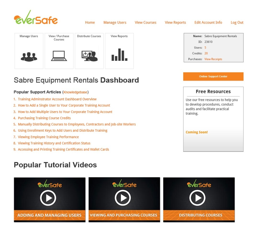 Training Administrator Account Dashboard Overview Online Support