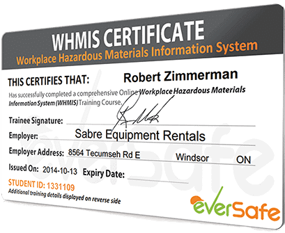 Online whmis certification training get your whmis certificate today online whmis training certificate yelopaper Choice Image