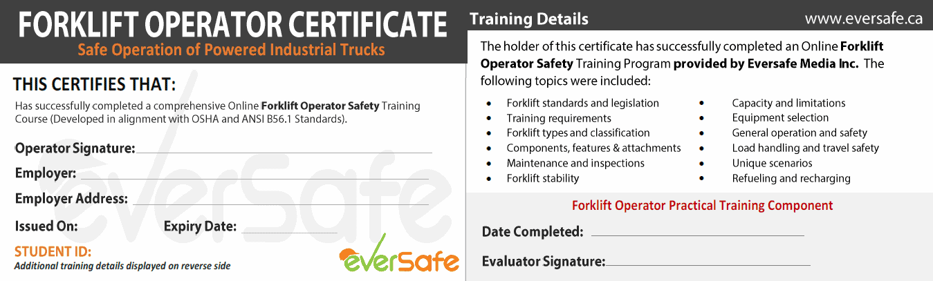 Online lift truck certification training csa b335 15 for Scissor lift certification card template